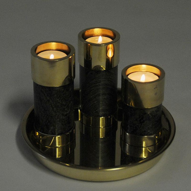 Late 20th Century Norwegian Candleholder Set of Three on a Brass Plate by Saulo, Sulitjelma, 1970s For Sale