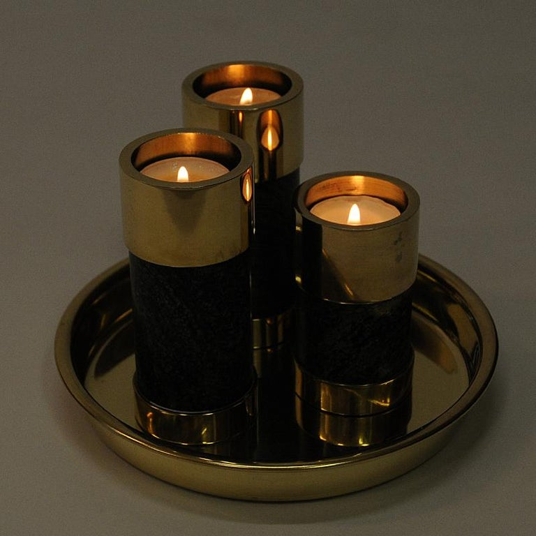 Norwegian Candleholder Set of Three on a Brass Plate by Saulo, Sulitjelma, 1970s For Sale 1