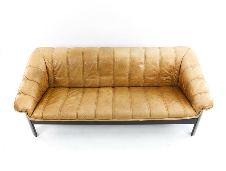 Mid-Century Modern Norwegian Ekornes Sofa in Brandy Color Leather