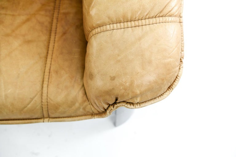 Danish Norwegian Ekornes Sofa in Brandy Color Leather