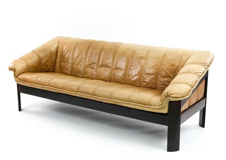 Norwegian Ekornes Sofa in Brandy Color Leather 1