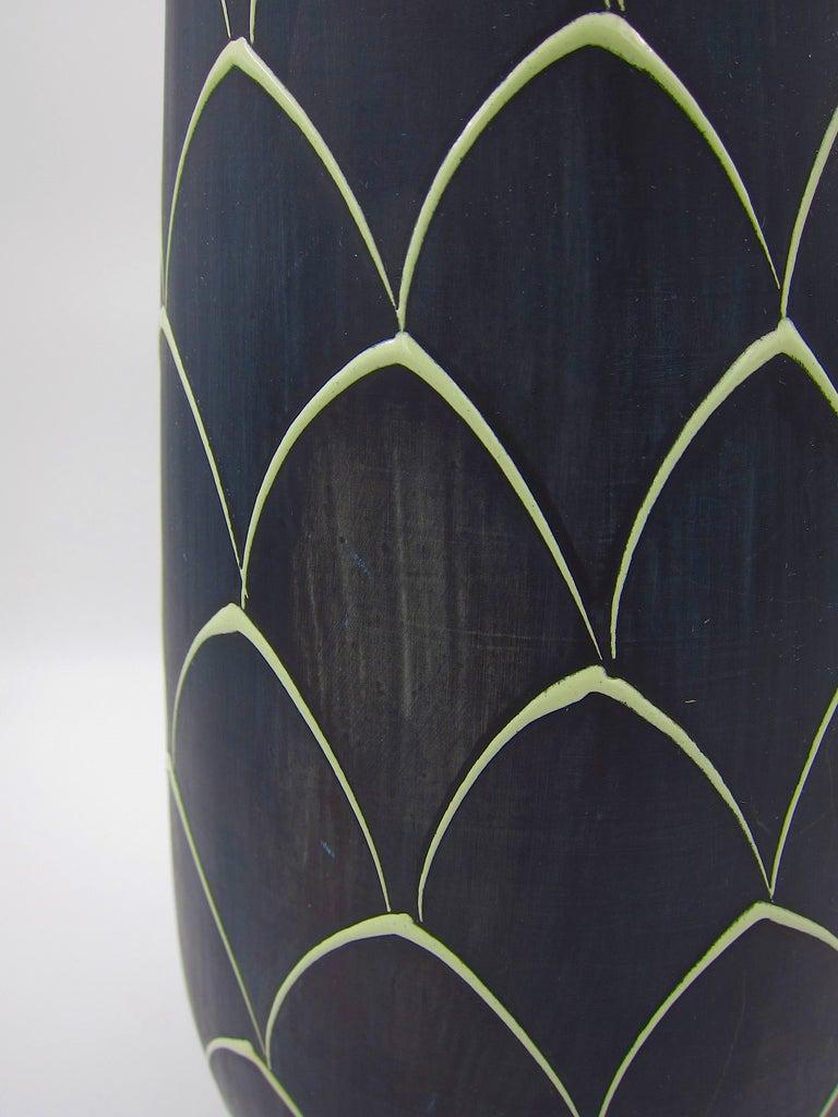 Norwegian Larholm Keramikk Scandinavian Modern Vase in Black and Green, 1950s For Sale 4
