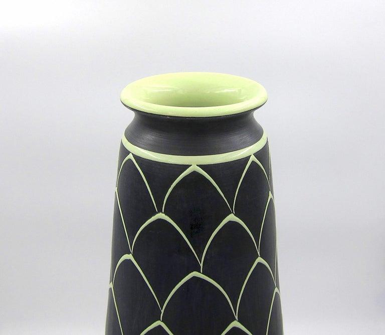 Hand-Painted Norwegian Larholm Keramikk Scandinavian Modern Vase in Black and Green, 1950s For Sale