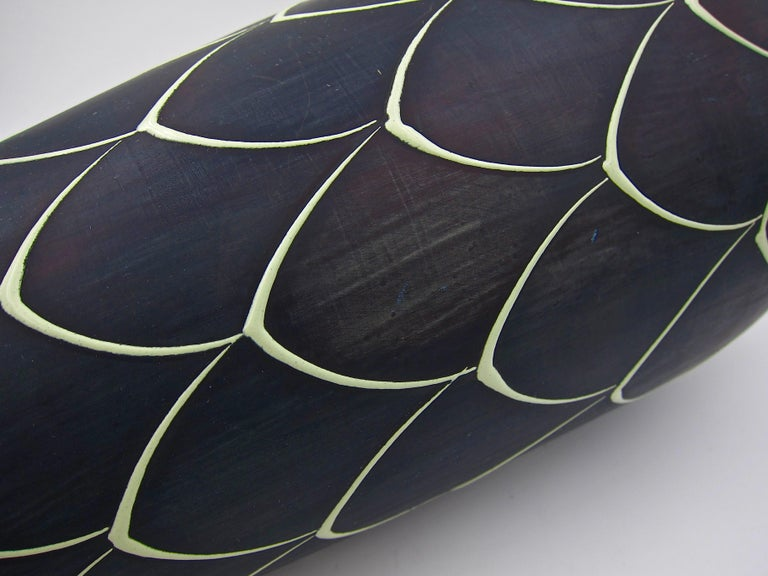 Norwegian Larholm Keramikk Scandinavian Modern Vase in Black and Green, 1950s For Sale 1