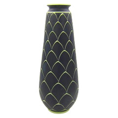 Norwegian Larholm Keramikk Scandinavian Modern Vase in Black and Green, 1950s