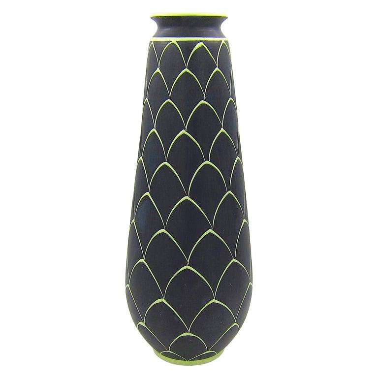 Norwegian Larholm Keramikk Scandinavian Modern Vase in Black and Green, 1950s For Sale