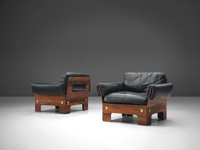 Late 20th Century Norwegian Living Room Set in Rosewood and Leather For Sale