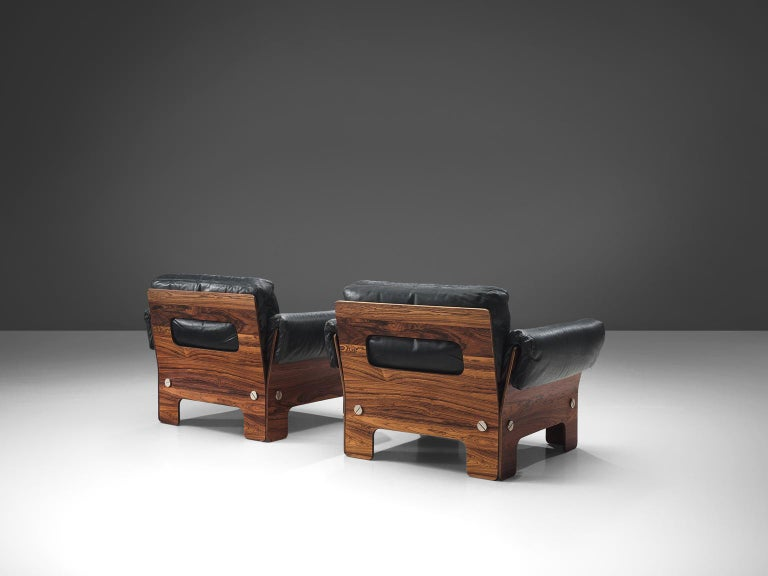 Wood Norwegian Living Room Set in Rosewood and Leather For Sale