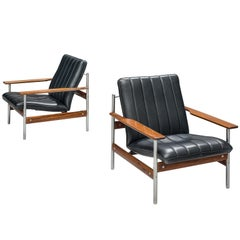 Norwegian Lounge Chairs by Sven Ivar Dysthe in Original Black Leather