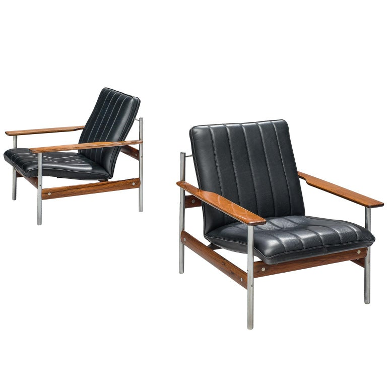 Surprising Norwegian Lounge Chairs By Sven Ivar Dysthe In Original Black Leather Ibusinesslaw Wood Chair Design Ideas Ibusinesslaworg