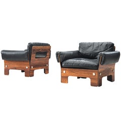 Norwegian Lounge Chairs in Rosewood and Leather