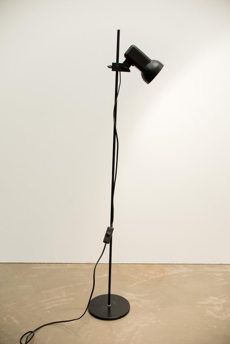 Lacquered Norwegian Metal and Aluminum Floor Lamp For Sale