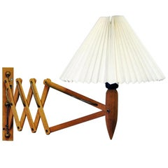 Norwegian Midcentury Scissor Wall Lamp of Oak, 1950s