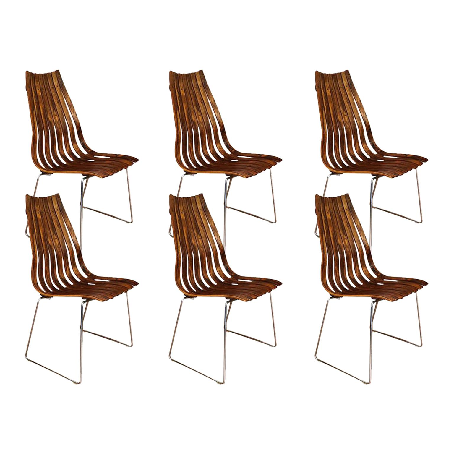 "Norwegian Modern Hans Brattrud ""Scandia"" Rosewood Dining Chairs"