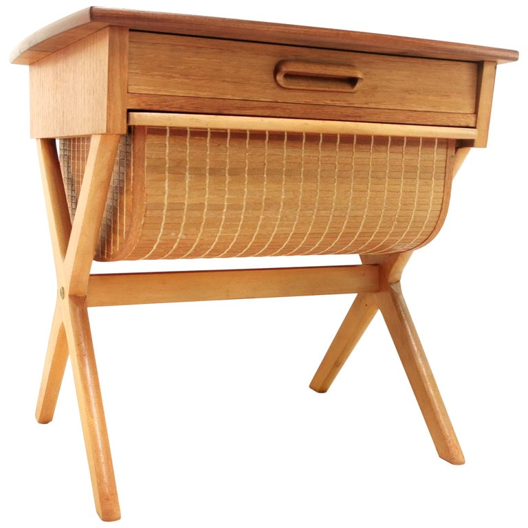 Norwegian Oddvin Rykken Teak Work Side Table Midcentury, 1960s