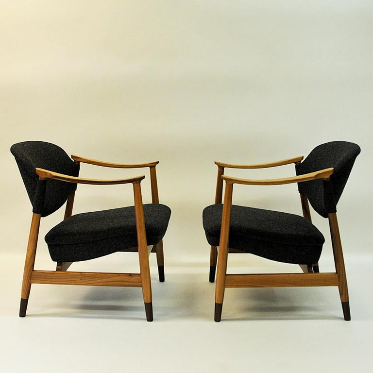 Woven Norwegian Pair of Elm Tree Vintage Armchairs by Olav A. Hessen, 1950s For Sale