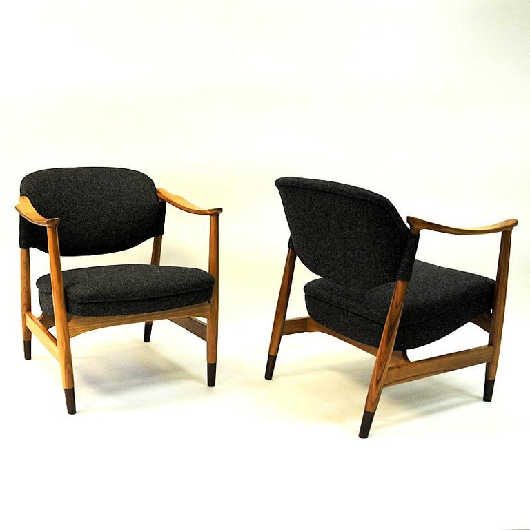 Norwegian Pair of Elm Tree Vintage Armchairs by Olav A. Hessen, 1950s In Good Condition For Sale In Stockholm, SE