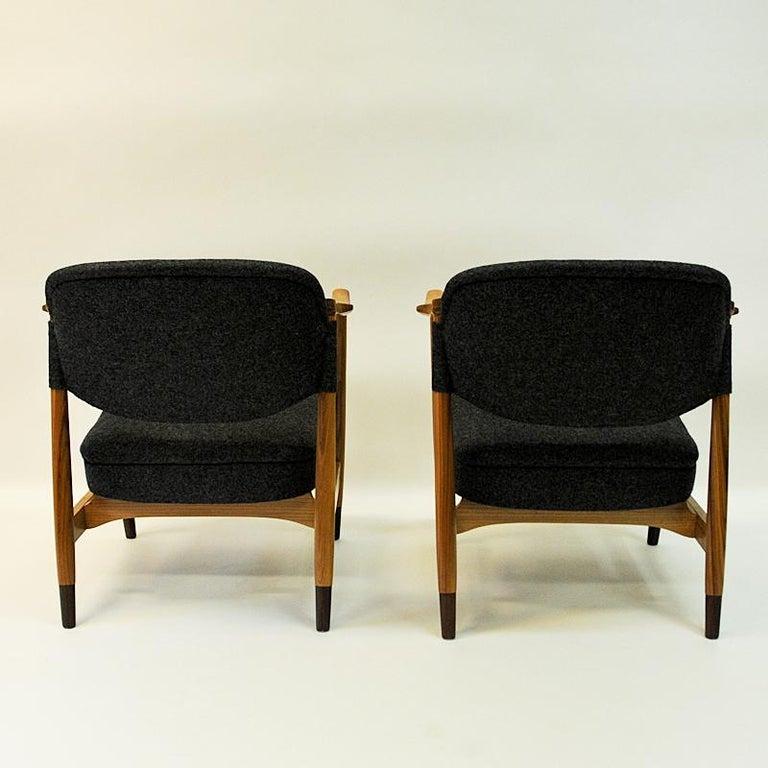 Wool Norwegian Pair of Elm Tree Vintage Armchairs by Olav A. Hessen, 1950s For Sale