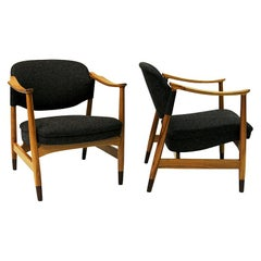 Norwegian Pair of Elm Tree Vintage Armchairs by Olav A. Hessen, 1950s