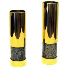 Norwegian Pair of Brass and Stone Vases by Saulo, 1970s, Norway