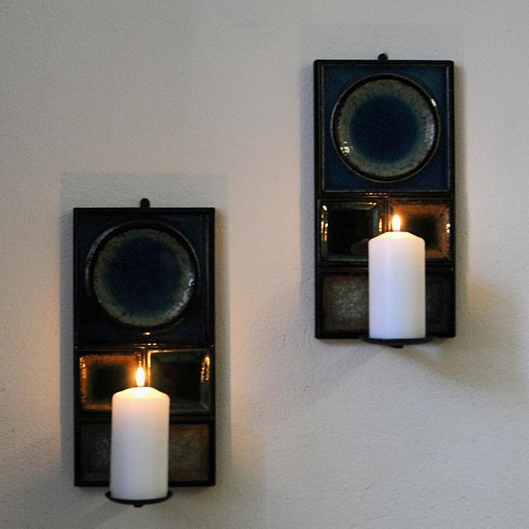 Scandinavian Modern Norwegian Pair of Glazed Ceramic Tiles Wall Candleholders by Konrad Galaaen 1960
