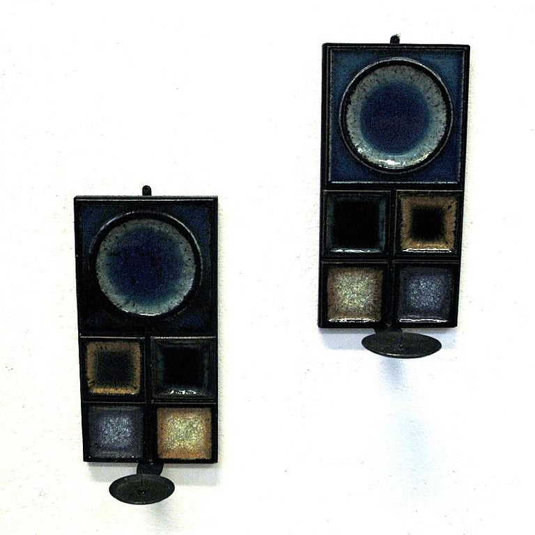 Norwegian Pair of Glazed Ceramic Tiles Wall Candleholders by Konrad Galaaen 1960 In Good Condition In Stockholm, SE
