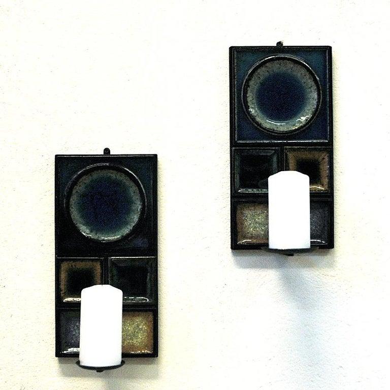 Norwegian Pair of Glazed Ceramic Tiles Wall Candleholders by Konrad Galaaen 1960 1