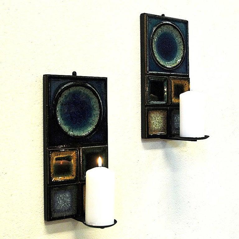 Norwegian Pair of Glazed Ceramic Tiles Wall Candleholders by Konrad Galaaen 1960 3