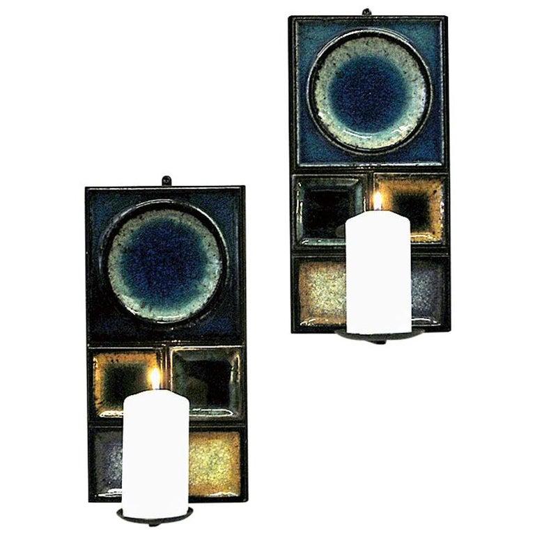 Norwegian Pair of Glazed Ceramic Tiles Wall Candleholders by Konrad Galaaen 1960