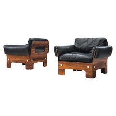 Norwegian Pair of Lounge Chairs in Rosewood and Leather