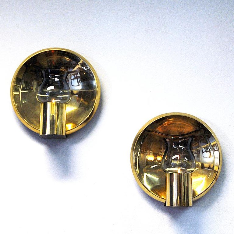 Norwegian Pair of Vintage Brass Wall Candleholders by Colseth 1960s In Good Condition In Stockholm, SE