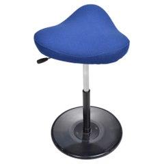 Norwegian Post Modern Saddle Seat Work Stool in Cobalt Blue