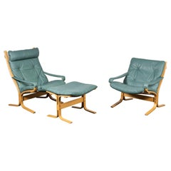 Norwegian Siesta Chair Set by Relling in Birch & Turquoise Leather for Westnofa