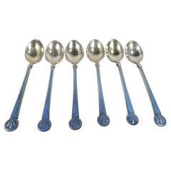 Norwegian Silver Gilt & Enamel Demitasse Spoons by David Andersen