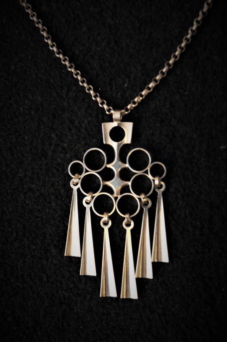 Mid-20th Century Norwegian Silver Sterling Pendant with necklace by Bjørn Sigurd Østern 1965