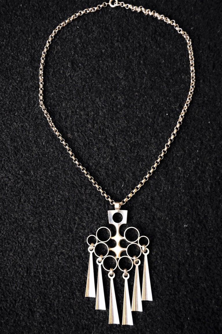 Norwegian Silver Sterling Pendant with necklace by Bjørn Sigurd Østern 1965 1