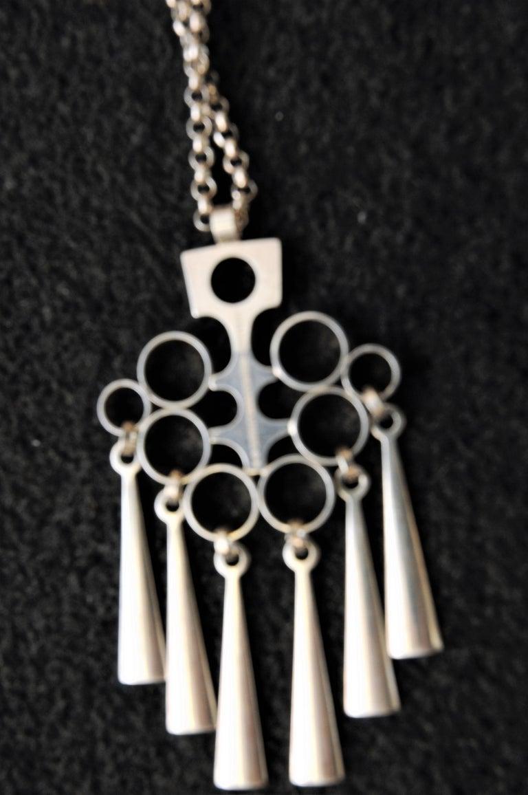 Norwegian Silver Sterling Pendant with necklace by Bjørn Sigurd Østern 1965 2