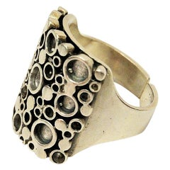 Norwegian Silverring with Circles by Marianne Berg for Uni-David Andersen, 1960s