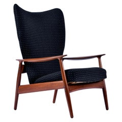 Norwegian Teak Wingback Recliner Lounge Chair by K. Rasmussen for Peter Wessel