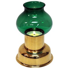 Norwegian Vintage Odel Brass Candleholder with Green Glass Shade, 1960s