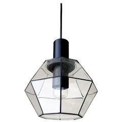 NOS Minimalist German Vintage Blown Glass Ceiling Pendant Light 1960s