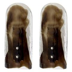 NOS Pair of Lovely Murano Glass Sconces Lotus by J.T. Kalmar, Austria, 1960s