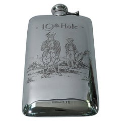 Nostalgic Antique Sterling Silver 19th Hole Golf Flask by Kerr