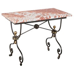 Notable French Iron Base Marble Top Pastry Table
