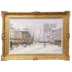 Notre Dame Cathedral Paris Mid-Century Modern Oil on Canvas Painting Sebastion