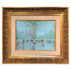 Notre-Dame de Paris Oil on Canvas Painting in Carved Gilt Frame Signed Gisson