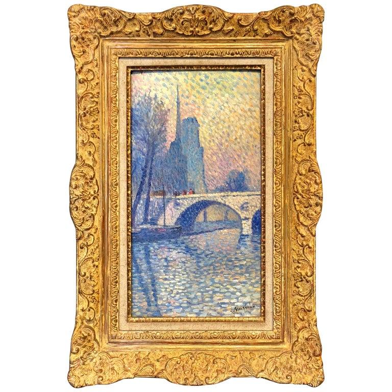 """""""Notre Dame"""" Pointillist Painting by Lucien Neuquelman For Sale"""