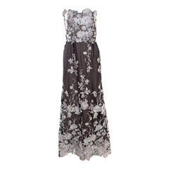 Notte By Marches Black Floral Embroidered Tulle Sequined Strapless Gown L