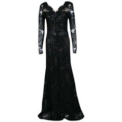 Notte By Marchesa Black Floral Applique Embellished Embroidered Tulle Gown M