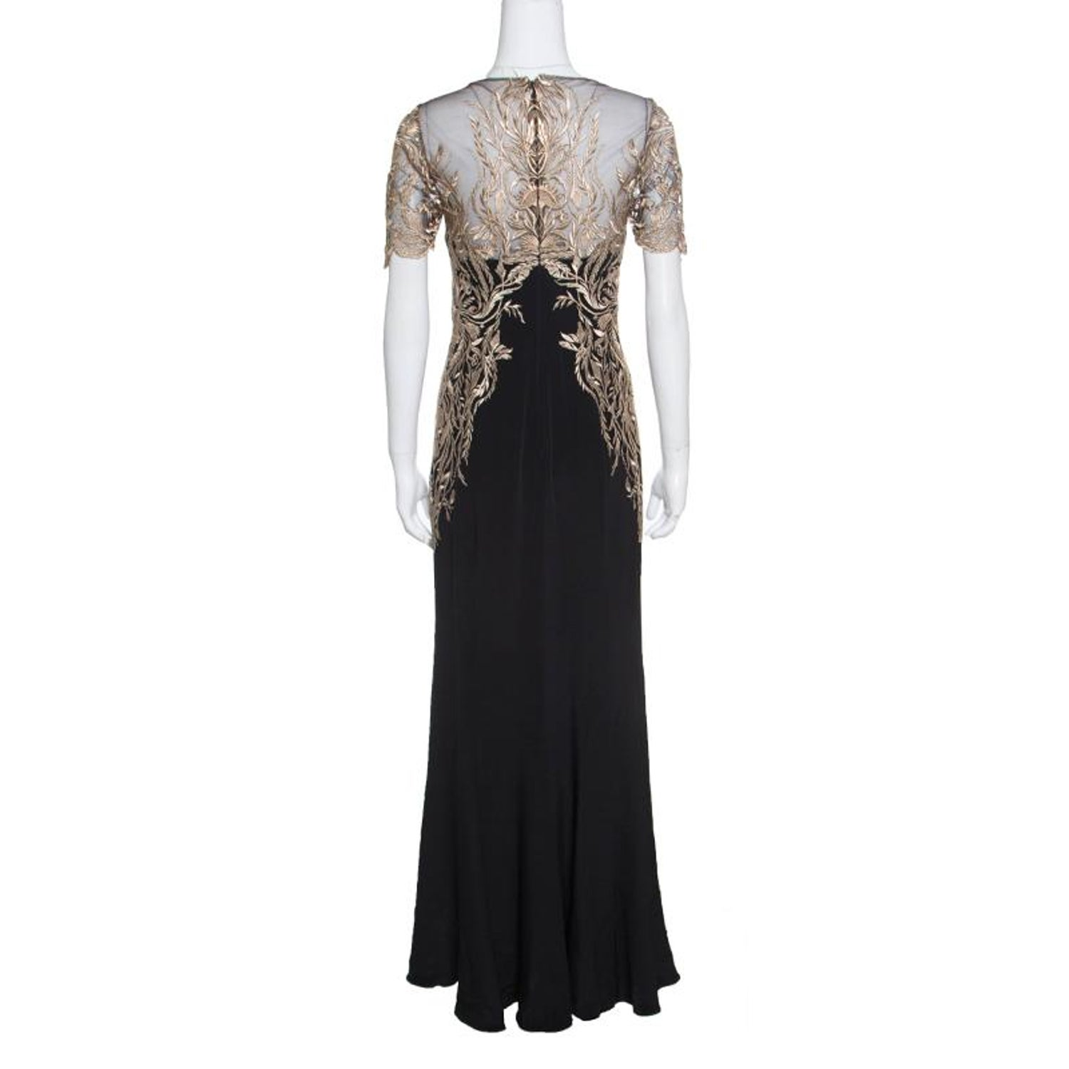 8cc8b812bbbe Notte by Marchesa Black Silk Lurex Floral Embroidered Evening Gown S For  Sale at 1stdibs
